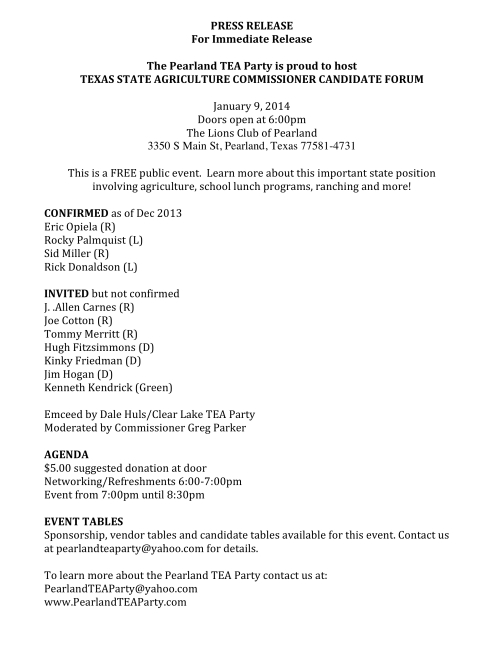 PRESS RELEASE-Candidate Forum-Agriculture Commissioner