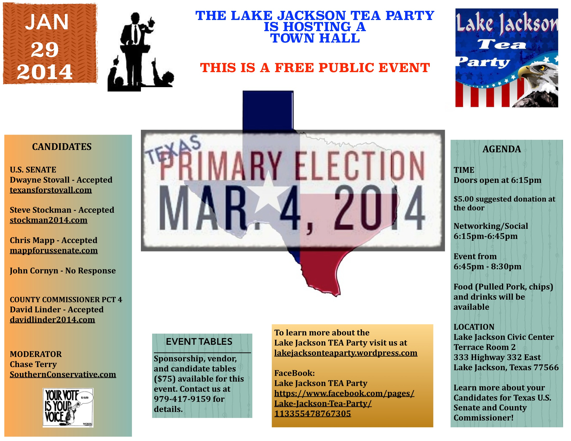 Jan 29, 2014 with Texas U.S. Senate, County Commissioner candidates ...